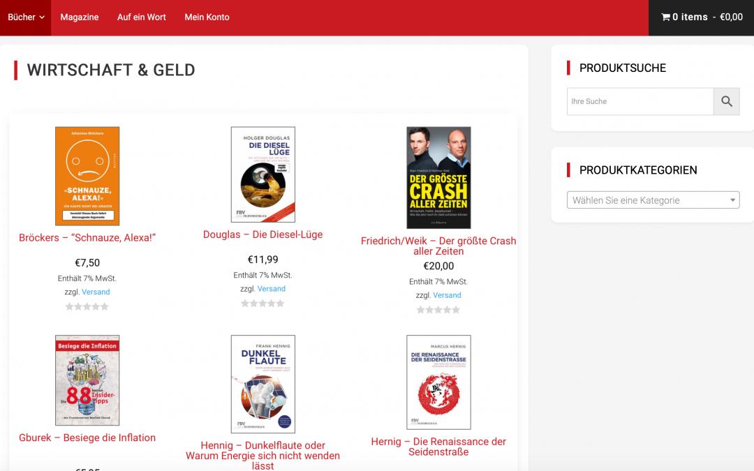 Web-Shop für ein mittelständisches Medienunternehmen